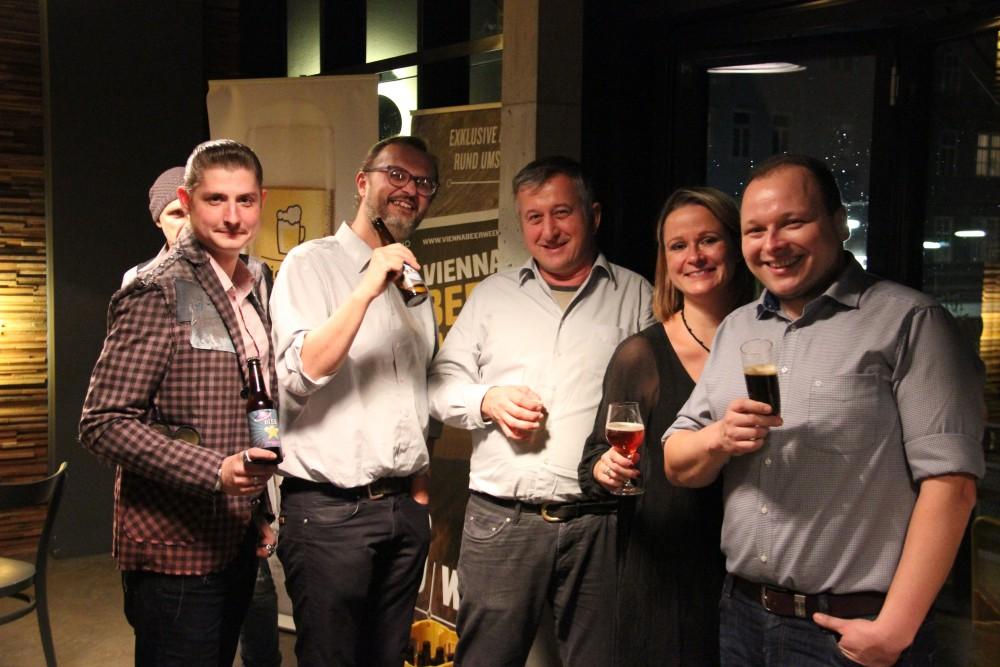 vlnr Alex (Bierg'schichtln), Franz und Thomas (Xaver), Alex (Bierg'schichtln), Mike (Brauwerk)